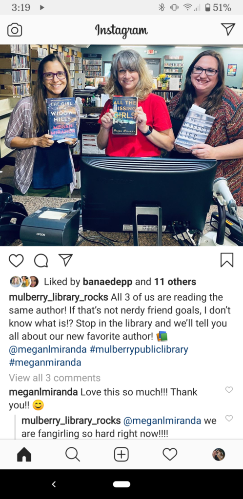 Instagram post showing Megan Miranda wrote us back!