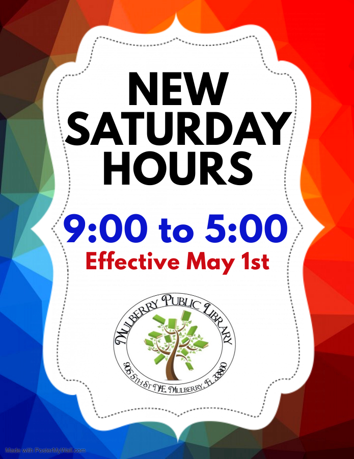 New Saturday Hours 9AM - 5PM